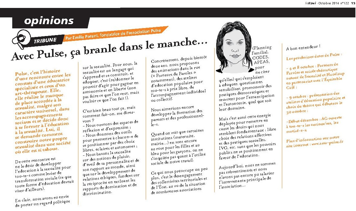 Tribune de PULSE ds Le Ravi octobre 2014